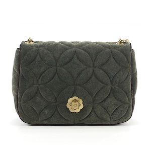 Beautiful Green Suede Quilted Purse